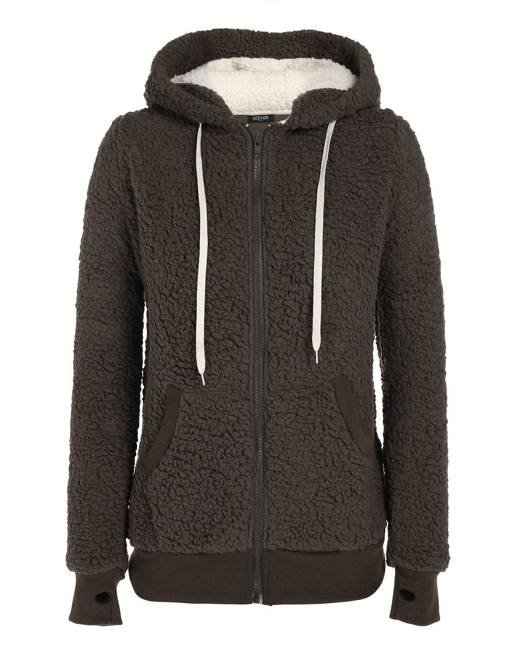 Women Soft Fleece Hooded Jacket Coat 0