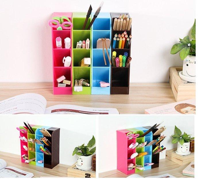 斜面式四格桌面收納盒 創意四格可立辦公桌面文具收納盒 抽屜整理格 廚房餐具收納盒