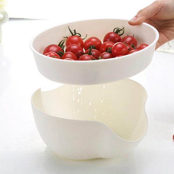 77美妝:雙層蔬果瀝水盤果皮收納盤(不挑色)YD0210