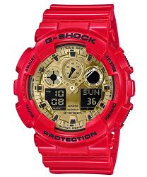 CASIO 卡西歐 G SHOCK 新春限定紅金雙顯錶 GA-100VLA-4A 44.3mm