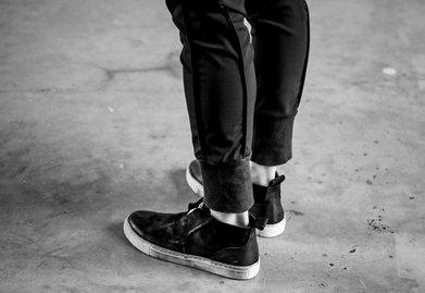 FINDSENSE服飾:FINDSENSEMD日系高品質時尚潮綁帶牛皮高幫低跟休閒鞋板鞋