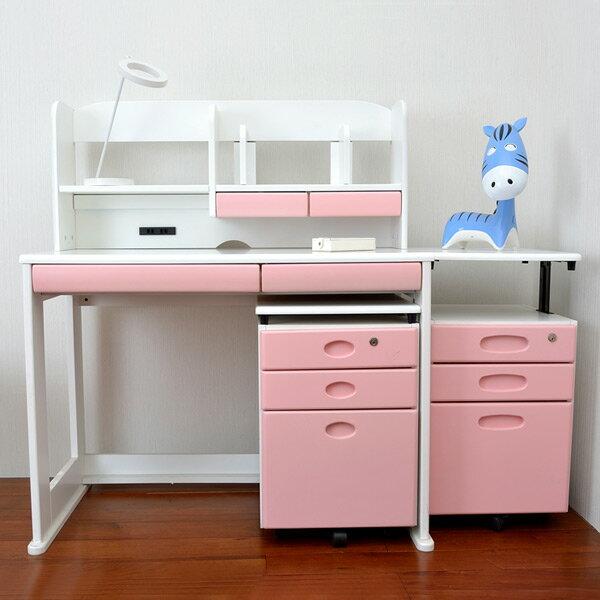 HYI 家居生活館:【HYI家居生活館】日本學生書桌組合(白色+粉色抽頭)-書桌+書棚+矮櫃(JPD0007+JPD0008)《全館免運費》