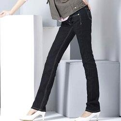 激瘦--完美激瘦經典黑藍無刷色低腰窄管牛仔長褲/鉛筆褲(S-7L)-N08眼圈熊中大尺碼