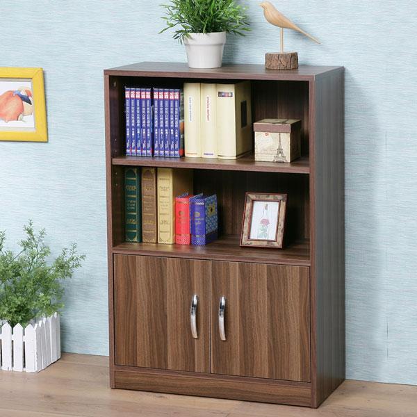書櫃 DIY書櫃 有門書櫃 收納櫃 櫥櫃 展示櫃 置物櫃 收納櫃《Yostyle》清新森林雙門二格書櫃-淺胡桃色