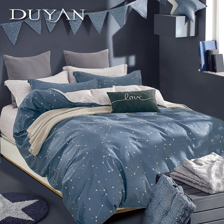 《DUYAN 竹漾》100%精梳純棉單人/雙人床包被套【星途】台灣製 雙人 單人 加大 床罩 鋪棉兩用被