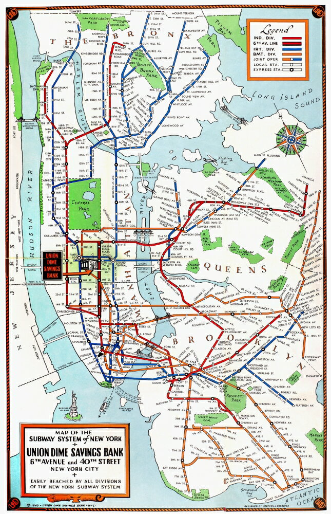 Posterazzi: New York Subway Map 1940 Nmap Of The Subway System Of ...