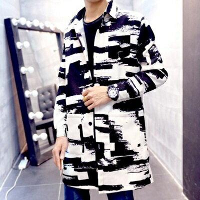 ☆西裝外套 長版大衣-韓版時尚墨跡休閒男外套72p15【獨家進口】【米蘭精品】