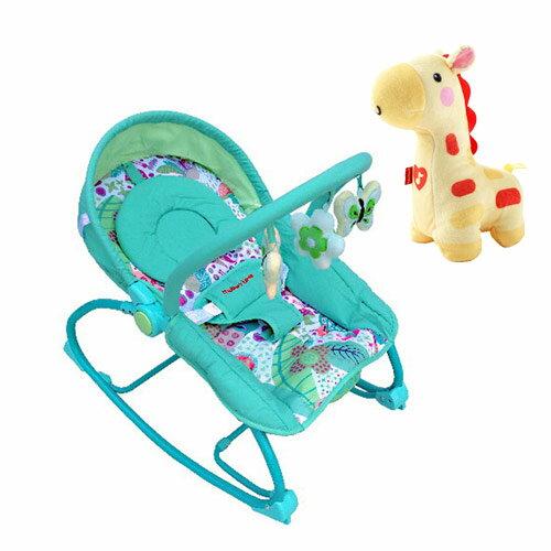 【奇買親子購物網】Mother's Love 嬰兒震動搖椅+費雪牌 Fisher 聲光安撫長頸鹿