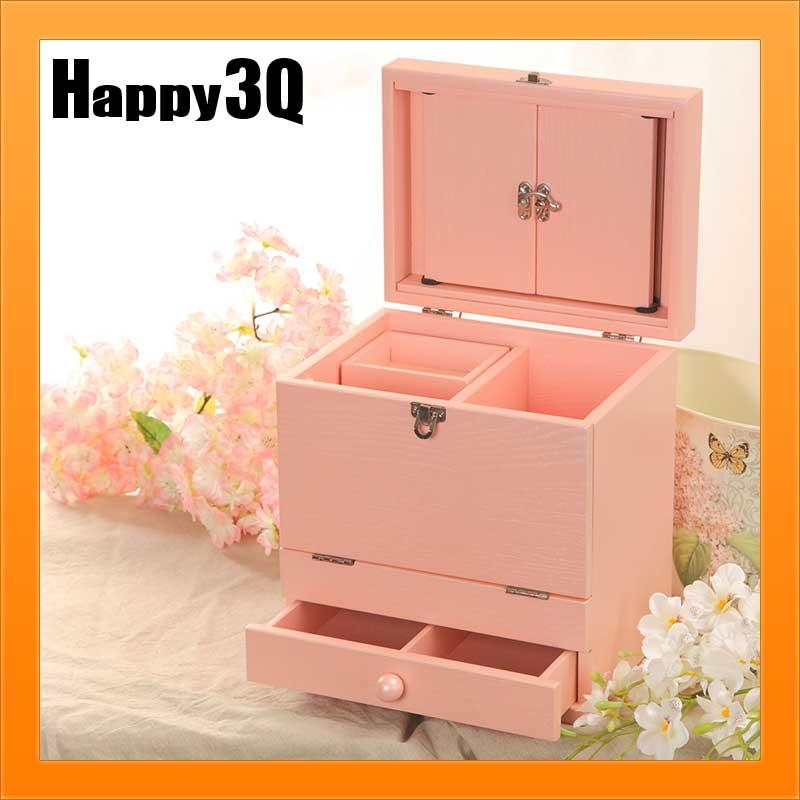 飾品盒化妝台化妝品保養品收納化妝鏡桌面宿舍木製-少女心粉色/清新白色【AAA1929】