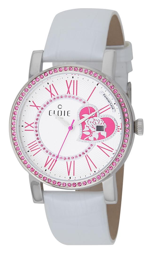 CLOIE 愛心鑲鑽 款 圓形女錶 桃紅  40mm CL10205~DX04