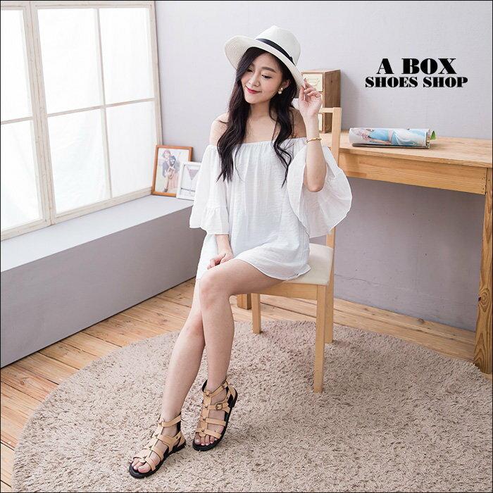 【KFK516-2】韓國製 街頭雜誌時尚單品 高品質真皮後拉鍊 魚骨羅馬涼鞋 羅馬鞋 2色 2