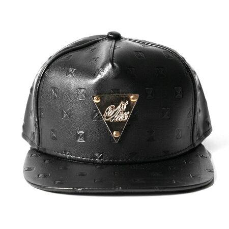 棒球帽 金三角鉚釘壓紋立體感造型皮革帽沿平板帽 增添特色 出門必備 柒彩年代【NH210】黑色系 0