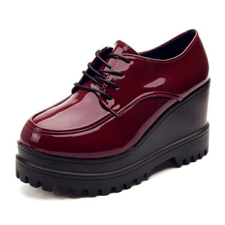 厚底鞋 新款英倫原宿小皮鞋學生鬆糕鞋厚底單鞋 家家百貨