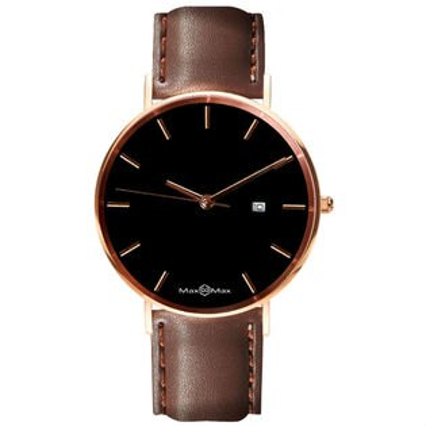 MaxMaxMAS7019-1質感極簡風皮革腕表錶-黑42mm