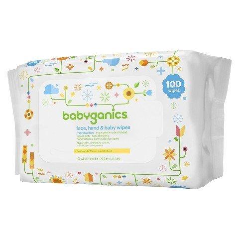 【彤彤小舖】BabyGanics 植物性手臉嬰兒超溫和濕紙巾 無酒精無香 100抽 美國