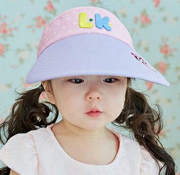 Lemonkid◆可愛活力滿版星星LK字母質感立體刺繡大帽沿透氣空頂遮陽帽-紫色帽沿