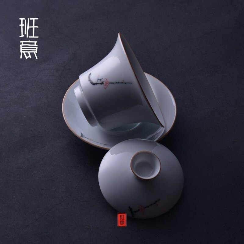 蓋碗茶杯手繪梅花 茶具景德鎮青花瓷泡茶碗陶瓷白瓷三才碗手抓壺1入