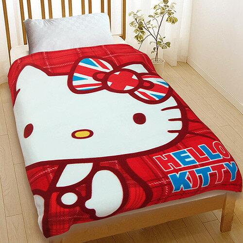 【享夢城堡】薄刷毛空調毯120x150cm-HELLOKITTY英倫風