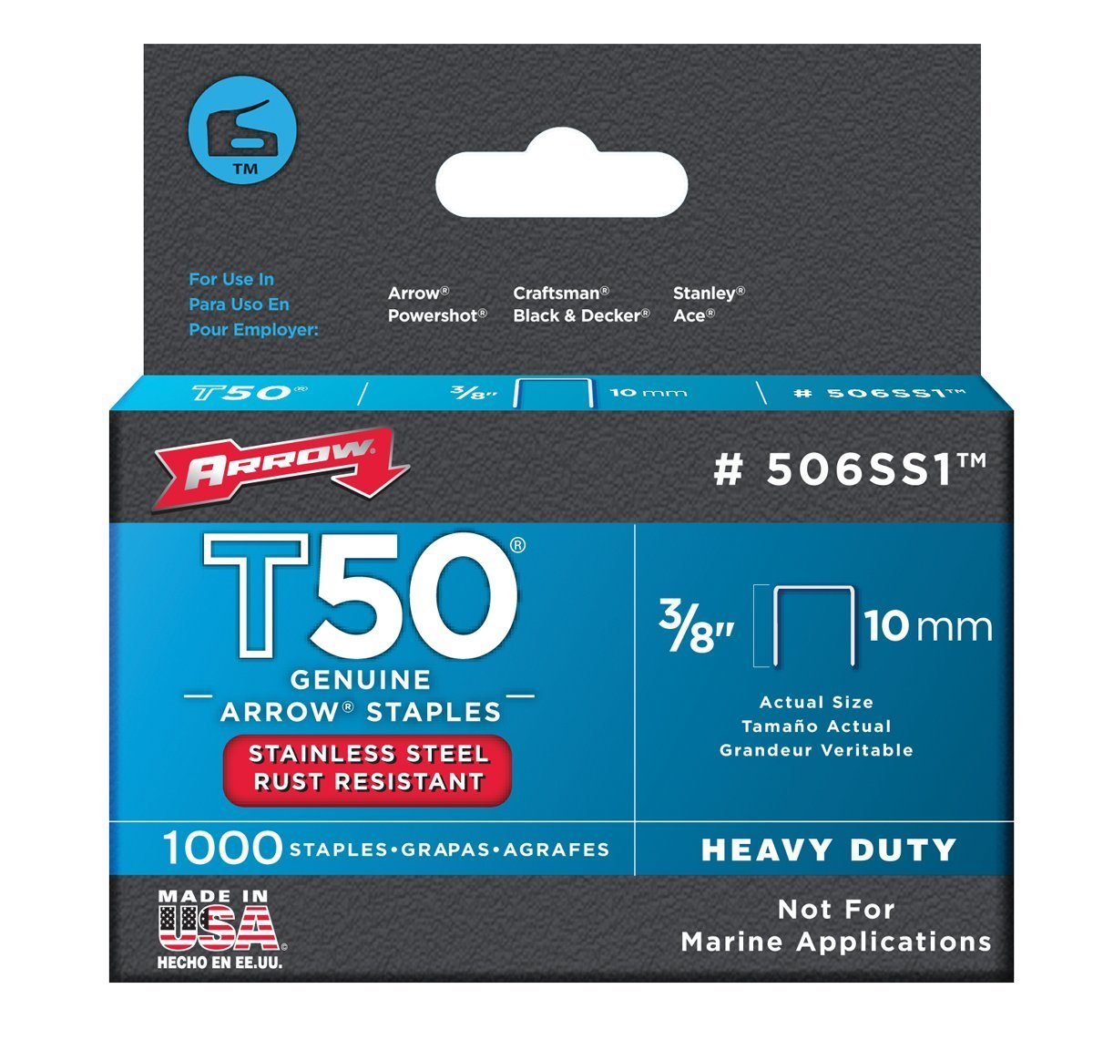 """Arrow 506SS1 Stainless Steel T50 Staples, 3/8"""""""