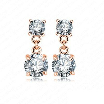 玫瑰金耳環 鑲鑽純銀耳飾~ 氣質迷人七夕情人節生日 女飾品73bj35~ ~~米蘭 ~