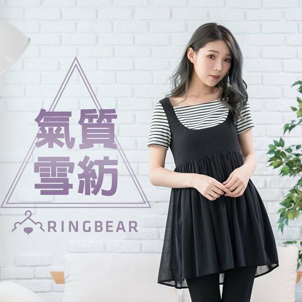黑色洋裝--優雅甜美方形領細褶雪紡飄逸假兩件連身裙(黑XL-5L)-D334眼圈熊中大尺碼