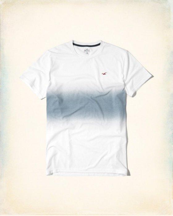 美國百分百【Hollister Co.】T恤 HCO 短袖 T-shirt 海鷗 logo 藍白 漸層 S號 I216