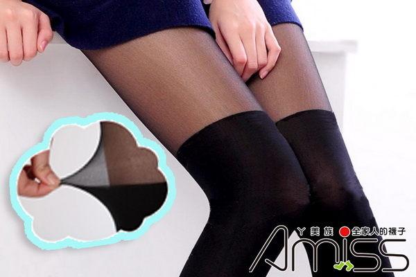 日系精緻 _雙色拼接_假膝上襪^(顯瘦黑^) 褲襪  MIT 製_采靚 鞋飾 ~  好康折