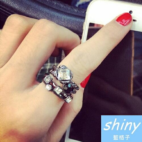 【DJJ1415】shiny藍格子-鑲水鑽復古款式四件套戒指