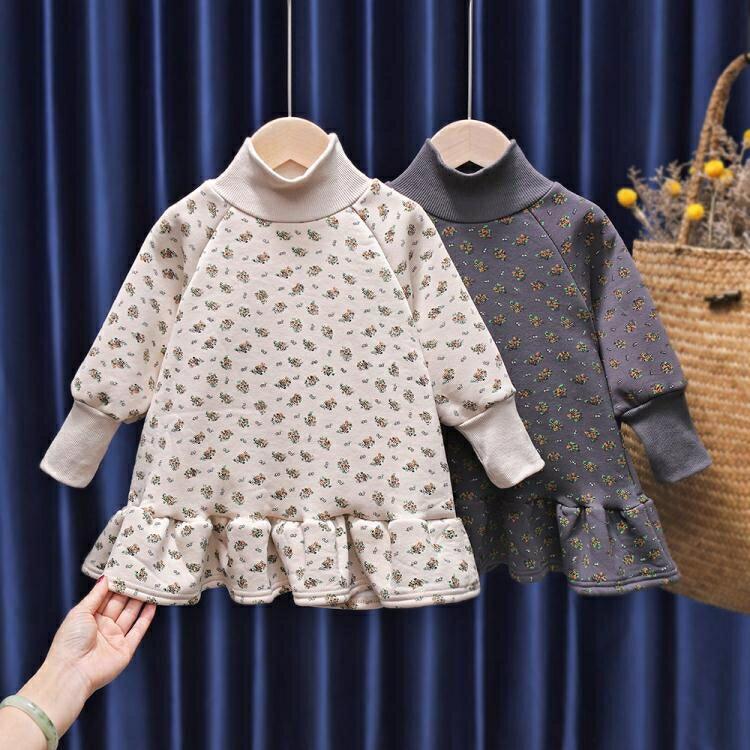 夯貨折扣! 女童洋裝 女童秋冬衛衣裙2021新款韓版兒童洋氣加絨小童連身裙女寶寶冬裝潮
