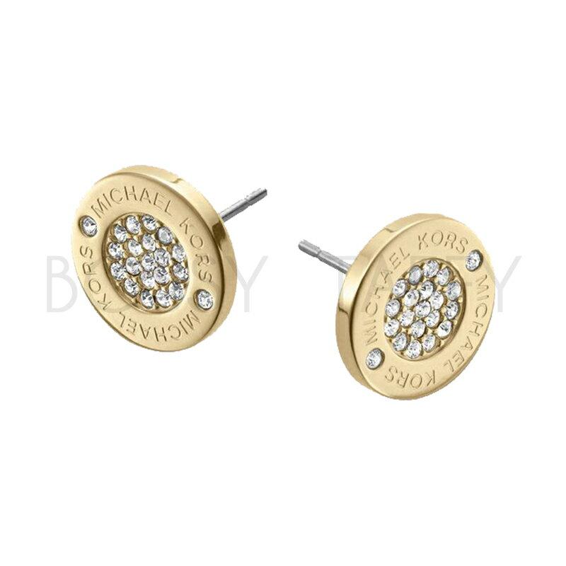 MICHAEL KORS 經典時尚金簡約鑲鑽耳環 MK Pave Gold-Tone Stud Earrings