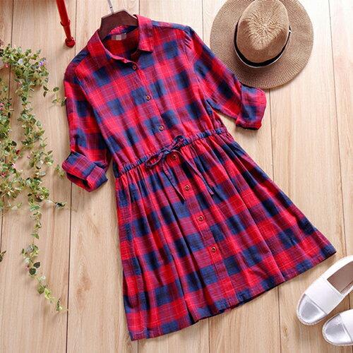 森系格子襯衫領連身裙 (紅色,M~2XL) 【OREAD】 - 限時優惠好康折扣