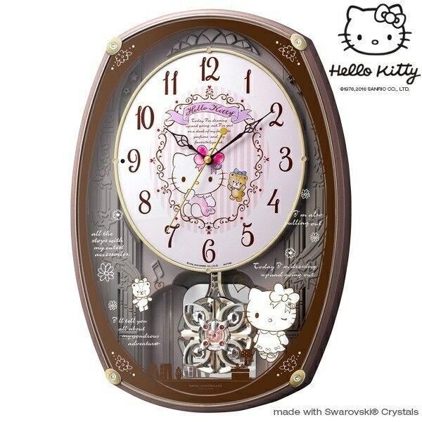 【真愛日本】16080500001  振子感應時計-KT30首音樂 三麗鷗 Hello Kitty 凱蒂貓  壁鐘 日本帶回 光控音樂電波掛鐘