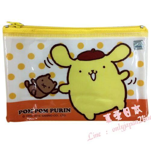 【真愛日本】16090500016彩色資料網袋-PN黃  三麗鷗家族 布丁狗  收納袋 生活雜貨
