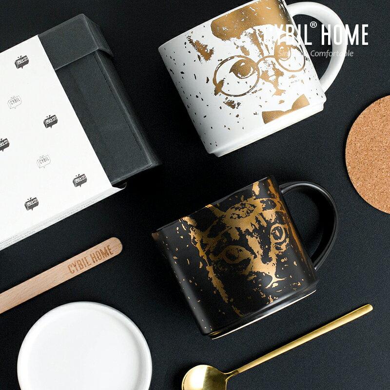 馬克杯禮盒  聖誕馬克杯帶蓋勺禮盒大容量貓陶瓷情侶杯創意個性早餐杯『CM40017』