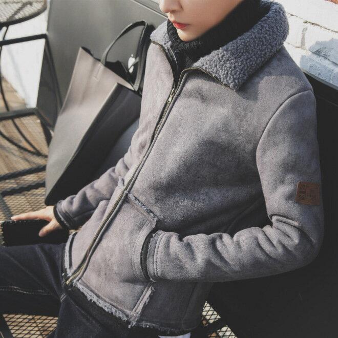 男士羊羔毛絨麂皮絨夾克2021秋冬韓版潮流短款加絨棉衣男外套