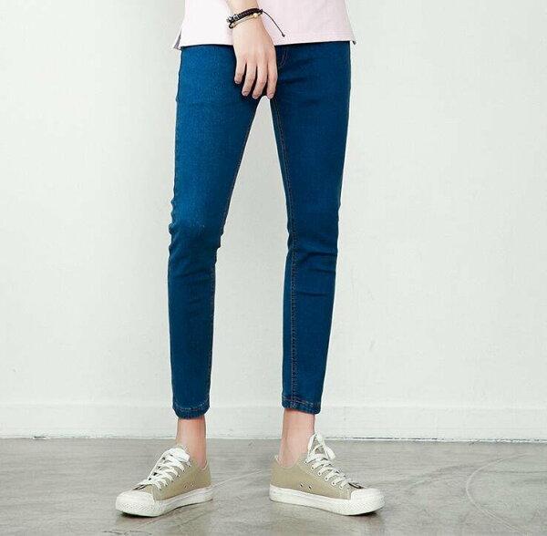 FINDSENSEZ1韓國時尚潮男簡約純色藍色修身小腳褲九分褲休閒長褲學生牛仔褲