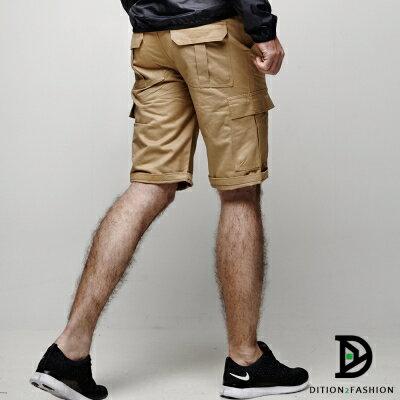 DITION 美式機能口袋outdoor工作短褲 素色 硬挺滑板褲 0