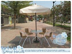 ╭☆雪之屋小舖☆╯@輕巧方便組@戶外休閒桌椅一桌四椅+7尺四方休閒傘(白)+傘座~原價$9600