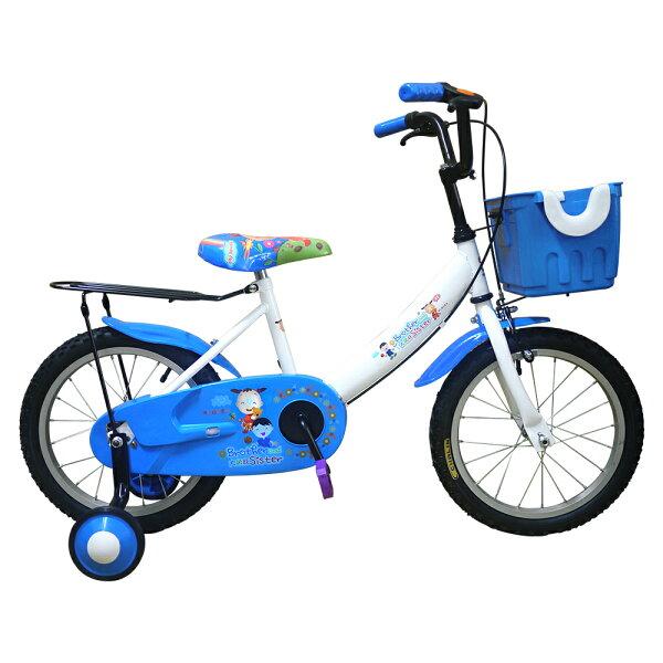 TheLife 樂生活:Adagio16吋大頭妹打氣胎童車附置物籃-白藍(台灣製造)(BEYJ174WB)