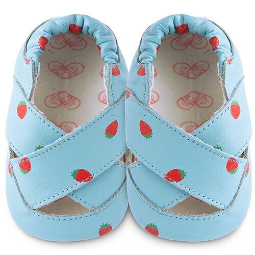 【HELLA 媽咪寶貝】英國 shooshoos 安全無毒真皮手工鞋/學步鞋/嬰兒鞋_草莓之吻涼鞋_101006 (公司貨)