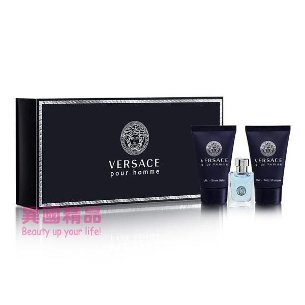 凡賽斯 Versace Pour Homme 男用小香三件禮盒組 香水:5ml/盥洗用品:22g【特價】§異國精品§