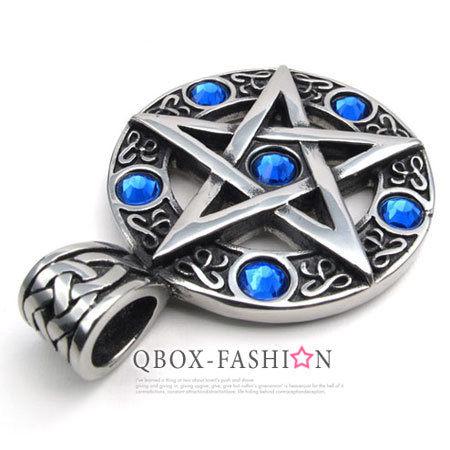 《QBOX》FASHION飾品【W10022348】精緻個性五芒星鑄造316L鈦鋼墬子項鍊(藍)