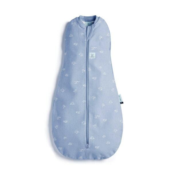 【全品牌任兩件贈三角圍兜】ergoPouch airCocoon 竹纖維二合一舒眠包巾-河流藍 (0~12m) 懶人包巾