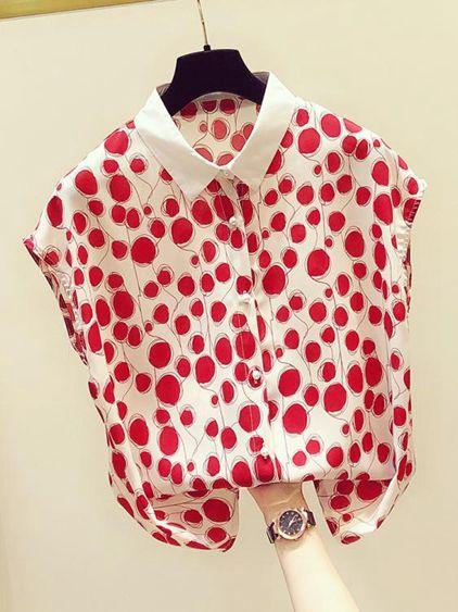 雪紡短袖波點雪紡衫女短袖2020新款夏季韓版寬鬆洋氣小衫很仙的雪紡上衣薄