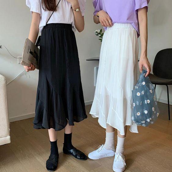 魚尾裙半身裙女夏季百褶魚尾裙雪紡a字中長款黑色白色不規則高腰長裙子