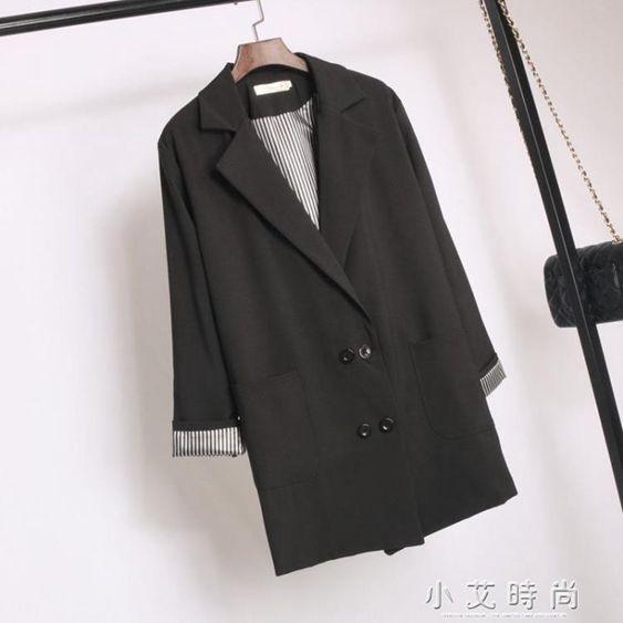 中長款小西裝外套女士寬鬆大碼數顯瘦韓版bf風黑色休閒西服薄款