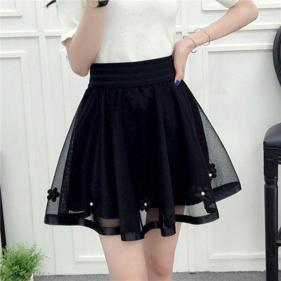 黑色蕾絲紗裙半身裙女春夏季褲裙松緊腰蓬蓬裙高腰網紗打底裙短裙