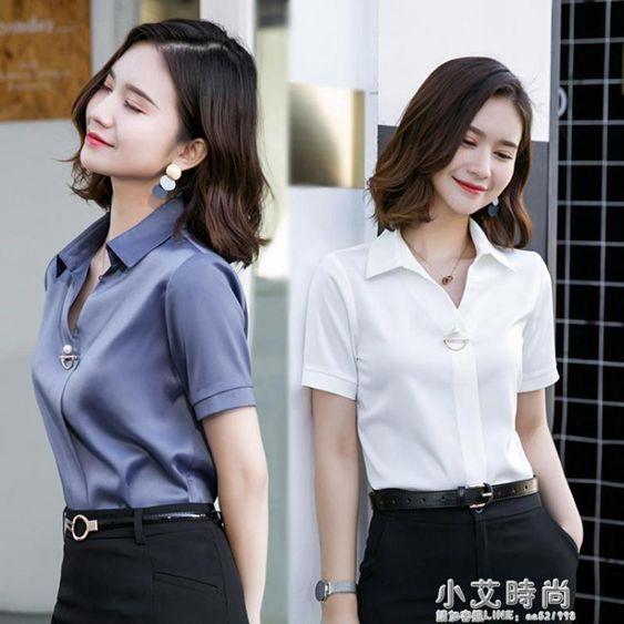 雪紡白色襯衫女短袖韓版氣質寬鬆V領職業裝半袖襯衣寸2020新款夏