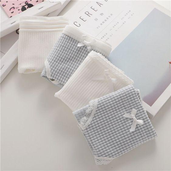 4件2純棉2莫代爾內褲女低腰可愛透氣棉質簡約純色學生少女三角褲