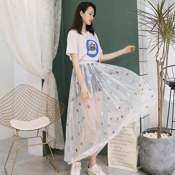 單層網紗半身裙女2020新款夏透明外搭紗裙森繫一層罩裙中長款仙女